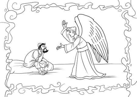 De engel Gabriël komt in een droom naar Jozef en vraagt hem Maria te aanvaarden en voor Jezus Christus te zorgen.