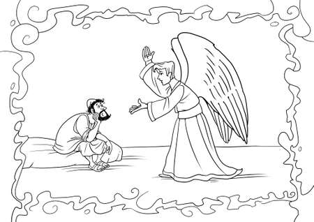 The angel Gabriel comes to Joseph in a dream and asks him to accept Mary and take care of Jesus Christ. Archivio Fotografico