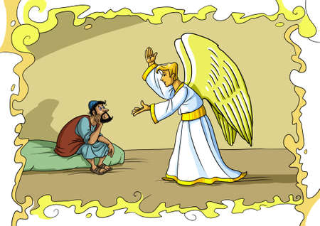 가브리엘 천사가 꿈에서 요셉에게 와서 마리아를 받아들이고 예수 그리스도를 돌 보도록 요청합니다. 스톡 콘텐츠 - 90571291