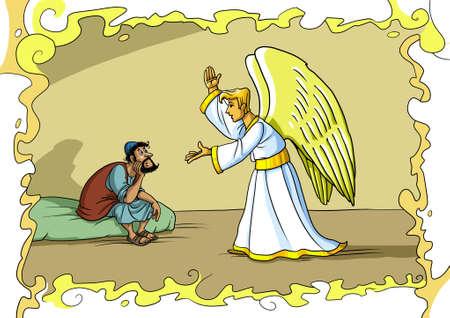 Anioł Gabriel przychodzi do Józefa we śnie i prosi go, aby przyjął Marię i zaopiekował się Jezusem Chrystusem.