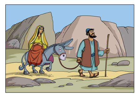 Joseph et Marie vont à la ville de Bethléem. Maria enceinte est assise sur un âne. Banque d'images