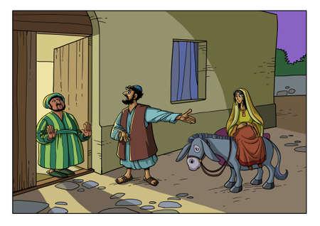 Maria i Józef z Betlejem szukają noclegu w hotelu. Ale wszystkie hotele są zajęte.