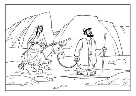 Joseph and Mary go to the city of Bethlehem. Pregnant Maria sits on a donkey. 스톡 콘텐츠