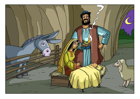 The Virgin Mary gave birth to the baby Jesus in the barn in Bethlehem.