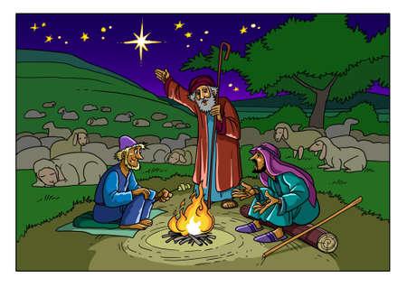 De herders op het veld bij Bethlehem en de ster, het teken van de geboorte van de Messias. Stockfoto