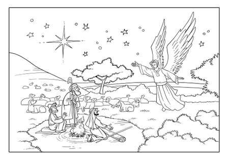천사는 현장의 목자들을 방문하고 베들레헴성에있는 구주의 탄생에 관해 그들에게 이야기합니다. 스톡 콘텐츠
