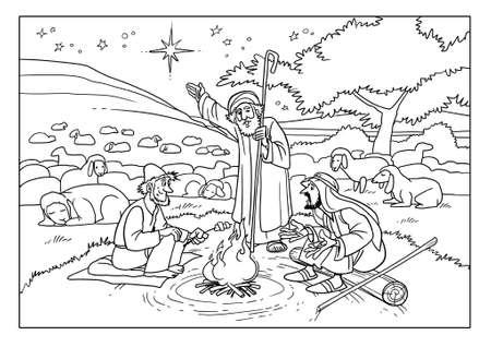 ベツレヘムと救世主の生れの印である星の近くのフィールドの羊飼い。