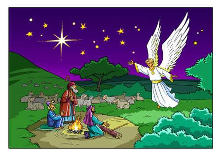 L'Ange rend visite aux bergers sur le terrain et leur parle de la naissance du Sauveur dans la ville de Bethléem. Banque d'images - 90695586