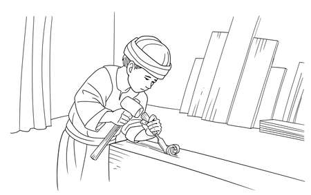 소년 예수는 목수의 작업장에서 일합니다. 스톡 콘텐츠