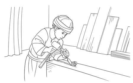 The boy Jesus works in a carpenters workshop.