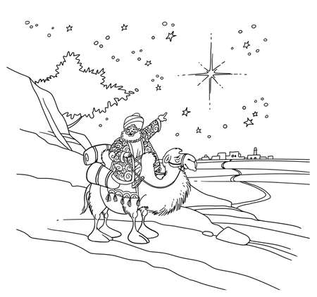 A sage on a camel points to a star in the night sky. The star indicates the birth of Christs baby in Bethlehem.