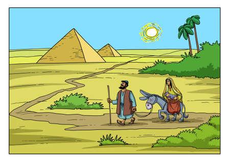 요셉과 마리아는 이집트로가는 길에 헤롯 왕의 박해에서 벗어납니다.