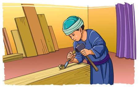 소년 예수는 목수의 작업장에서 일합니다. 스톡 콘텐츠 - 92627883