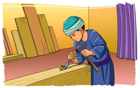 The boy Jesus works in a carpenters workshop.
