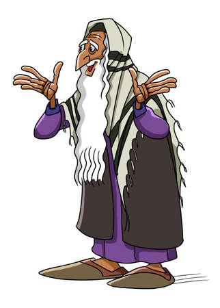 경건한 사람인 시므온은 그리스도의 유아를보고 그가 메시야를 보았던 것을 기뻐합니다. 스톡 콘텐츠 - 92524339