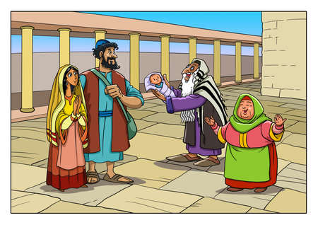 Dedication of Jesus. Josef, Mary, Simeon and Anna the prophetess in the Temple.