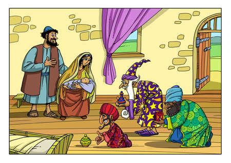 Drei Reisende aus dem Osten kam zum Haus der Freiheit und Maria und Fortsetzung für das Jesuskind
