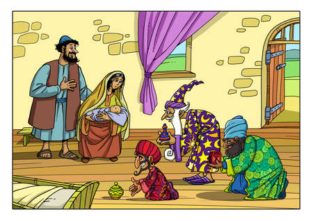 Three Sages from the East came to the House of Joseph and Mary and brought Gifts for the Baby Jesus.