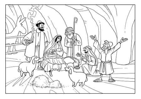 羊飼いたちは赤ん坊イエスを見るために馬小屋に来ました。