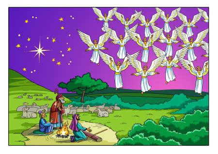 天使の合唱団は羊飼いの前に現れ、神を賛美する歌を歌います。