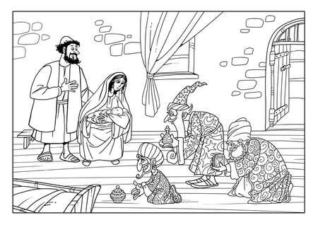 동쪽의 세 현자가 요셉과 마리아의 집에 와서 아기 예수를위한 선물을 가져 왔습니다. 스톡 콘텐츠 - 94359973
