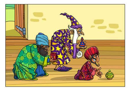 동쪽의 세 현자가 요셉과 마리아의 집에 와서 아기 예수를위한 선물을 가져 왔습니다. 스톡 콘텐츠 - 94566204