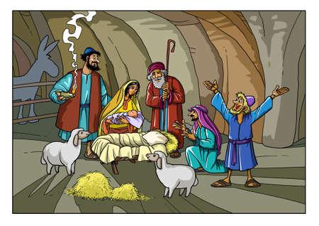 Die Hirten kamen zum Stall, um das Jesuskind zu sehen.