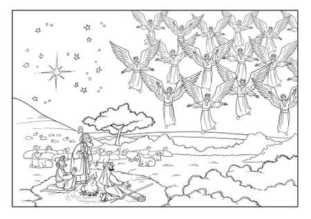 천사 합창단은 목자들 앞에 나타나 하나님을 영화 롭게하는 노래를 부릅니다. 스톡 콘텐츠