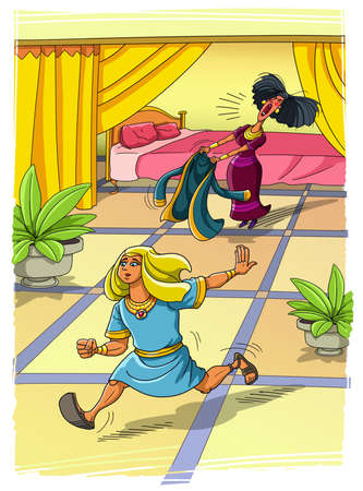 Potiphars wife wanted to seduce Joseph, but he left his clothes and ran away cartoon concept Stock Photo