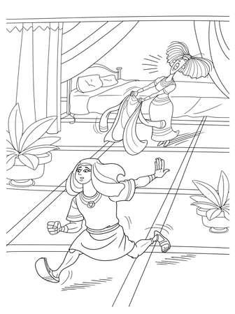 보디발의 아내는 요셉을 유혹하고 싶었지만 옷을 떠나 도망갔습니다. 스톡 콘텐츠 - 98440876