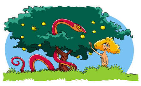 The Serpent tempts Eve to eat the forbidden Fruit from the Tree of knowledge of good and evil 스톡 콘텐츠