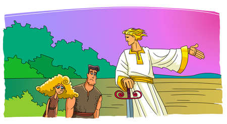 An Angel with a Sword expels Adam and Eve from the Garden of Eden cartoon concept