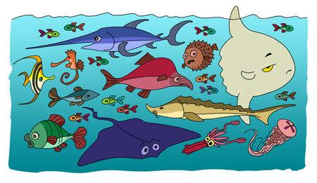 하나님은 세상을 창조 한 다섯째 날에 바다와 바다의 모든 주민을 창조하셨습니다 스톡 콘텐츠 - 98434392