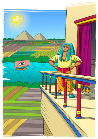 Joseph stands on the balcony of his palace and looks at Egypt, the Nile River, the fields and pyramids.