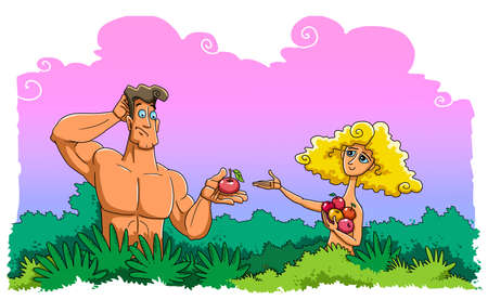 Eve gives Adam fruit from the tree of the knowledge of good and evil in the Garden of Eden. Adam takes it and he is surprised.