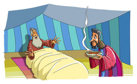 Jacob came to the Tent of his blind Father Isaac and brought Food. He wants to deceive him and take the Blessing of his Brother. Standard-Bild