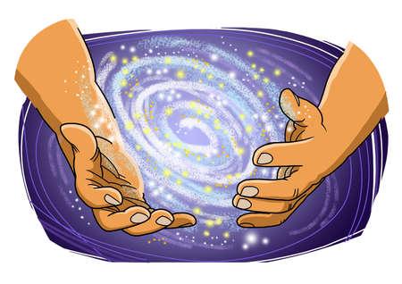 Les mains de Dieu créent des galaxies, des planètes, de l'espace.