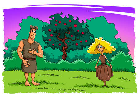 Adam and Eve after sinning in the Garden of Eden look at their new clothes from animal skin Stock Photo