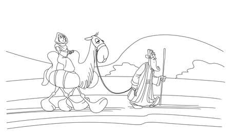 Abraham walks along the road and leads a camel, Sarah sits on a camel. 스톡 콘텐츠