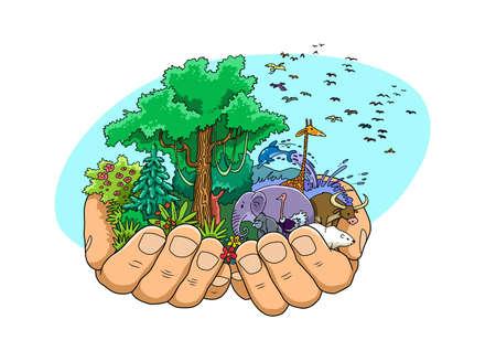 Die Hände Gottes, des Schöpfers, unterstützen das Leben aller Natur, Pflanzen und Tiere.