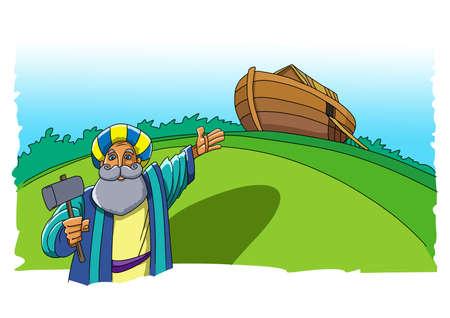 Noah built an ark to escape from the flood 版權商用圖片