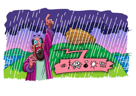 Angry man scolds God during the flood 版權商用圖片