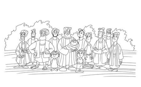 Biblical patriarch Jacob and his twelve sons