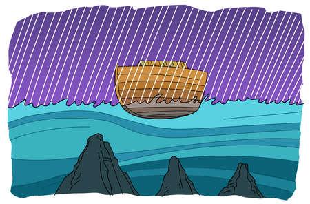 Noahs ark floats during a global flood 版權商用圖片