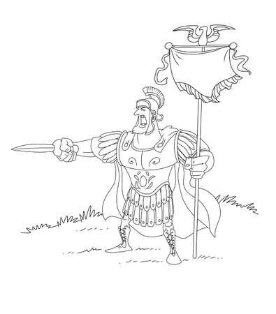 Roman centurion commander calls for an attack 版權商用圖片
