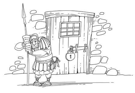 Roman soldier guards the door of the prison 版權商用圖片
