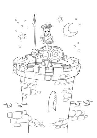 Roman soldier stands guard on a watch tower