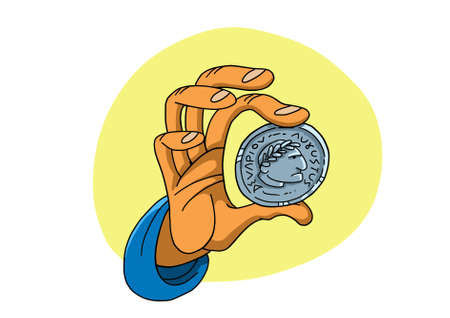 Hand holds roman coin with the image of emperor 版權商用圖片