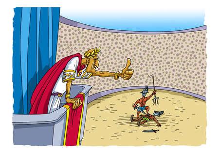 Roman emperor shows mercy to the gladiator Reklamní fotografie
