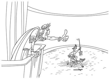 Roman emperor shows mercy to the gladiator 版權商用圖片